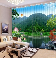Blackout curtain Hot 2016 Customized 3D curtains beautiful nature scenery curtains for living room green window curtains