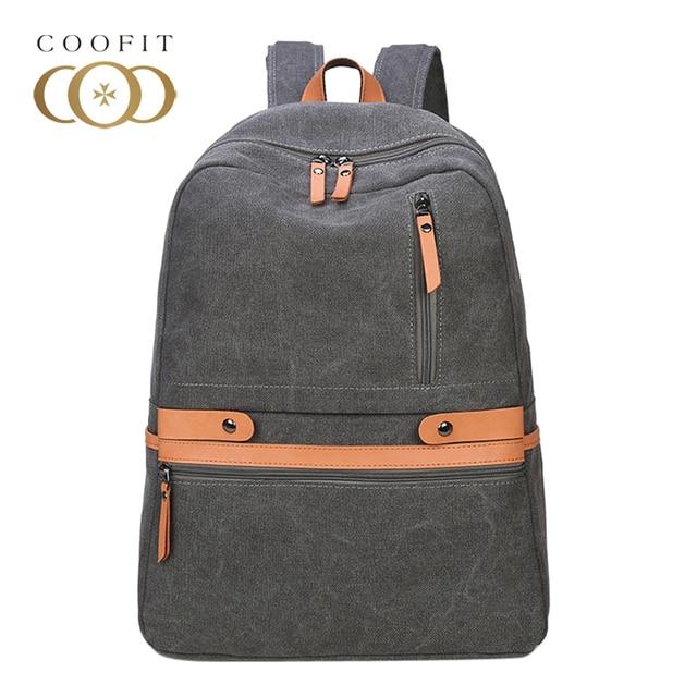 Coofit Vintage Unisex Laptop Backpack Casual Men Women Canvas Backpacks  School Bag For Teens Girls Boys Travel Bagpack Satchels 521e37477df9a
