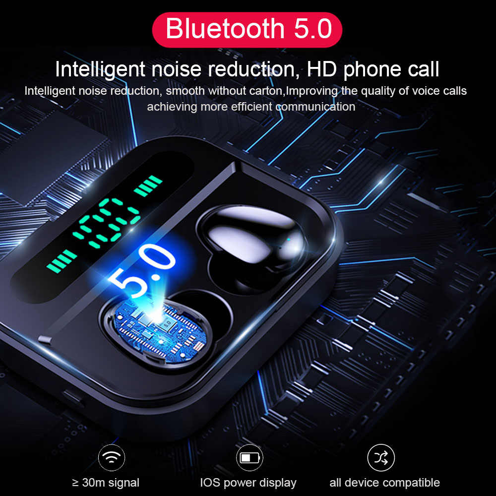 QCR TWS 5,0 auriculares Bluetooth IP7 auriculares inalámbricos 6D estéreo HiFi auriculares inalámbricos para juegos con micrófono 2200mAh