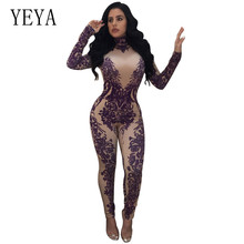 YEYA Autumn Bodycon Jumpsuits Women Floral Printed Long Sleeve Turtleneck Romper Vintage Long Pants Playsuits Plunging Overall plunging neck self tie floral romper