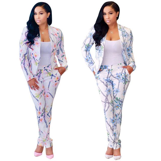 b8495808 US $34.26 |Pant Suits Women Casual Office Business Suits Pink Blue 2 Piece  Pants Set Suit Top+Long Trousers Flower Print Plus Size XL Suits-in Women's  ...