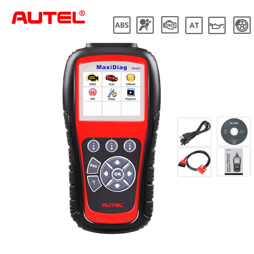 Original Autel Car Diagnostic Tool OBD2 All System Automotive Scanner MD805 OBD Code Reader Scan Tools Escaner Automotriz Tool code readers scan tools ancel ad510 obdii obd2 scanner automotivo escaner can engine analyzer car code reader diagnostic tool