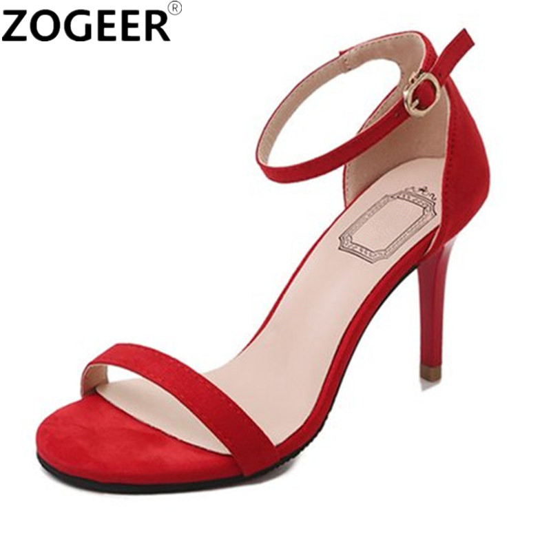 Women Sandals High Heels Summer 2018 Shoes Woman Fashion Black Red Ankle Strap Party Wedding Ladies Sandals criss cross colorblocked women velvet platform sandals red black green fashion mixed color ankle strap party sandals shoes woman