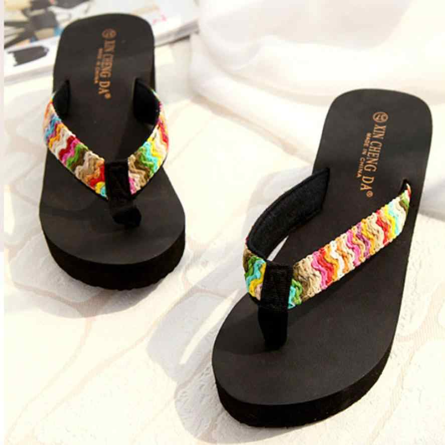 Luxury Shoes Women Summer Sexy Flip Flops Platform Sandals Beach Flat Wedge Patch Flip Flops Lady Female Soft Slippers Shoes