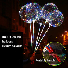 20pcs/lot 20inch Helium Luminous Led Balloon Transparent Luminous Balloons Wedding Decoration birthday party With Hand Shank