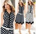 Весной и летом горячей продажи Европейский стиль рукавов горошек платье с поясом