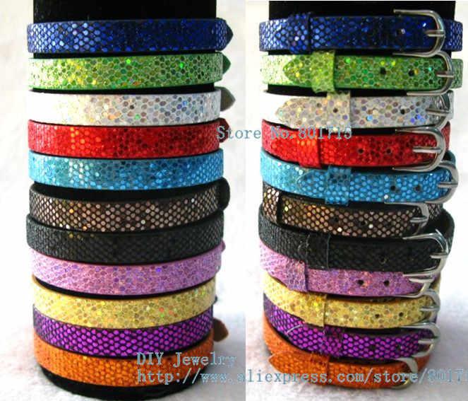 1pc cekiny PU Leather olśniewająca opaska na nadgarstek bransoletka kolorowe akcesoria zrób to sam 8mm szerokości 21cm długość pasuje do 8mm suwaka urok jako prezent
