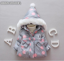 Winter Baby Jackets Hooded Warm Toddler Baby Girls Outerwear Faux Fur Baby Girls Clothing Infant Baby Girls Outfits Clothes cheap Outerwear Coats CHILDLAND POEM Fashion Full Fits true to size take your normal size Worsted Cotton Polyester Polka Dot