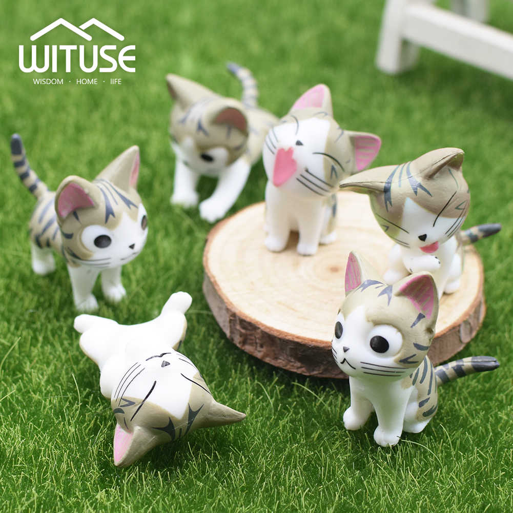 1/6Pcs Cat Terrarium Cheese Cat Figurines Miniature Figurine Fairy Garden Miniatures Garden Decoration Miniature Fairy Figurines