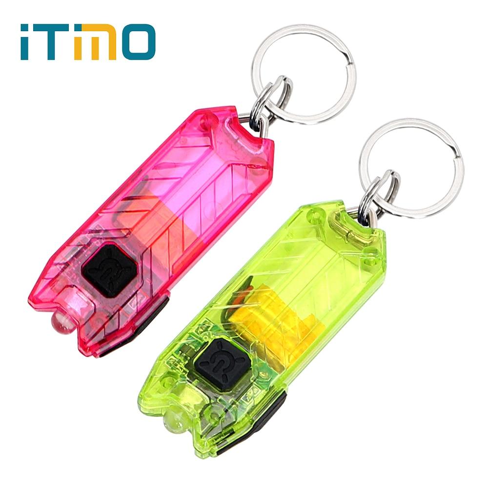 ITimo 45LM 2 Modes Mini LED Porte-clés lampe de Poche Porte-clés Lumière Lampe Torche USB Rechargeable Clé Chaîne Tube Portable