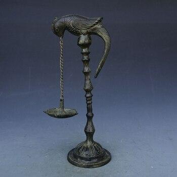 Antique, copper casting, home decoration, parrot antique oil lamp oil collection.