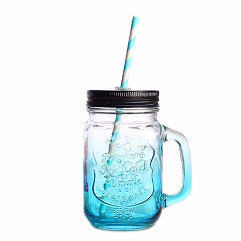 2017 nueva unique mason tarros de cristal de vidrio de color azul botella de agua tazas