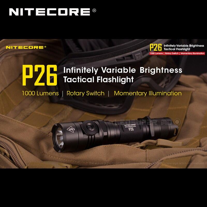 NITECORE P26 Super Bright 1000 Lumens Tactical Torch Adjustable Brightness CREE LED 310m IPX8 Waterproof 500h Runtime Handheld F