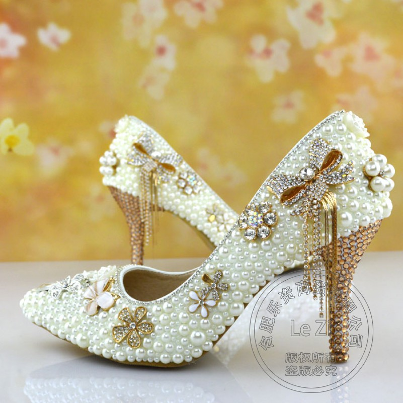 Crystal Slim Wedding Shoes Heels Chinese National Low Cut Uppers Pearl Comfortable Hot Selling Glass Slipper