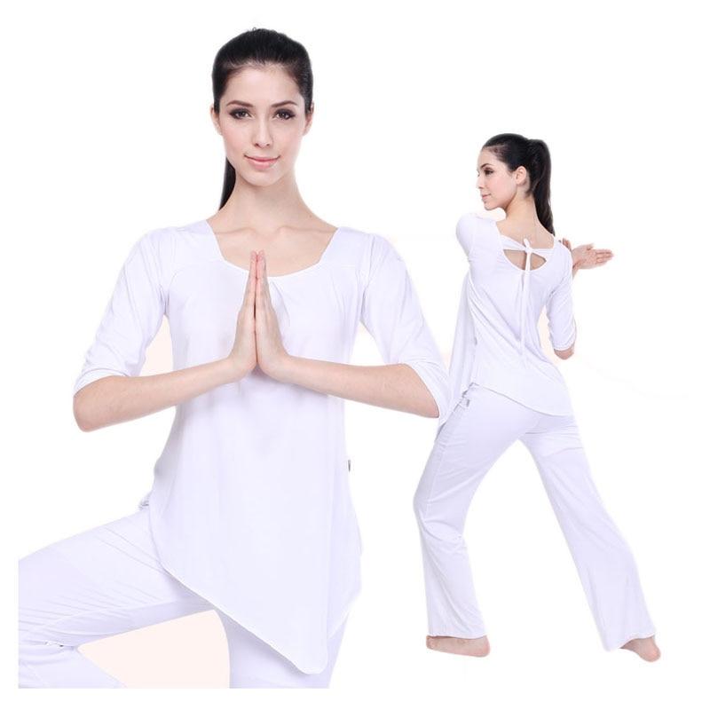 2016 Cotton Loose Yoga Clothes For Women White Female Slim