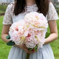 Beyaz Pembe 5 Kafaları Yapay Çiçekler Bloom Şakayık Slik Çiçek Dekor Düğün Gelin Buketi Lateks Şakayık Düğün Parti Dekorasyon