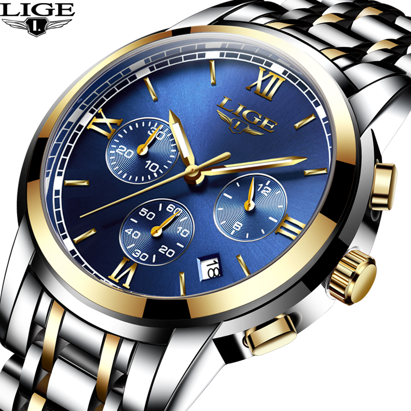 LIGE Luxury Brand Watches Men Fashion Sport Military Quartz Watch Men Full Steel Business Waterproof Clock Man Relogio Masculino lige mens watches top brand luxury man fashion business quartz watch men sport full steel waterproof clock erkek kol saati box