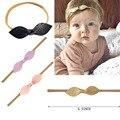 10 unids/lote Nudo Del Arco Cinta Bebé de Las Vendas de Nylon Superior de Cuero nudo arquea Las Vendas del Bebé Accesorios Para el Cabello
