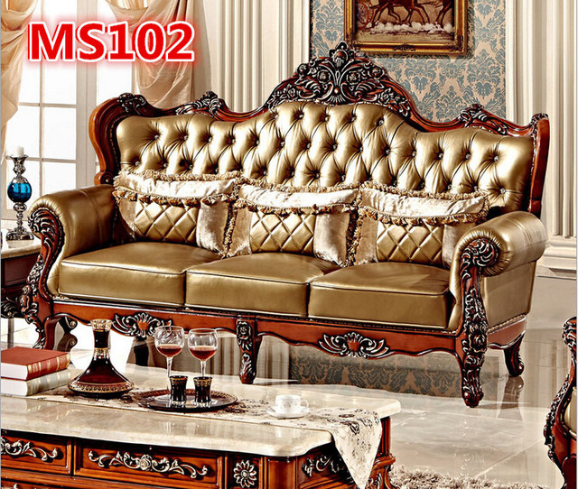 Antique Sofa High Back Style Wooden Arm Sofa MS102