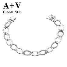 free shipping 18K white gold nature diamond trendy luxury bracelet  for women engagement wedding
