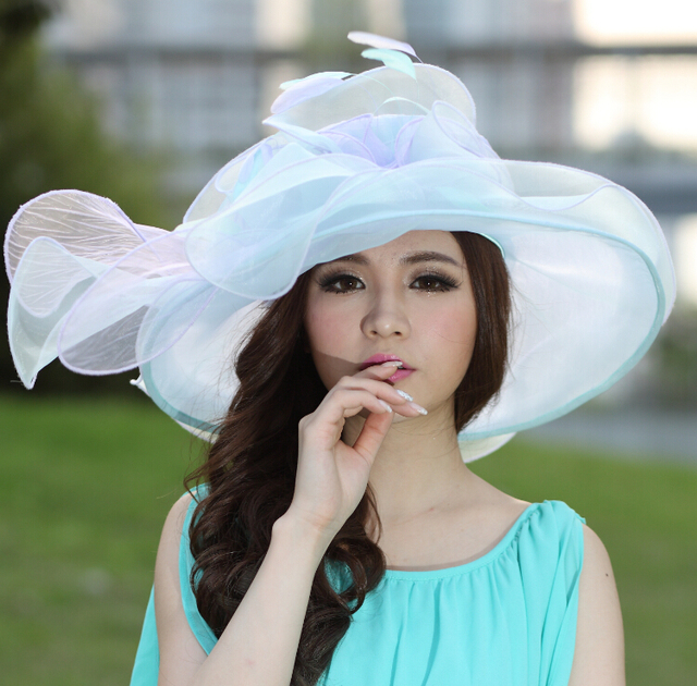 888226b22cf Women Organza Hat Derby Church Wedding Cocktail Evening Party Beach Dress  Cap Sunmer Wide Brim Sun