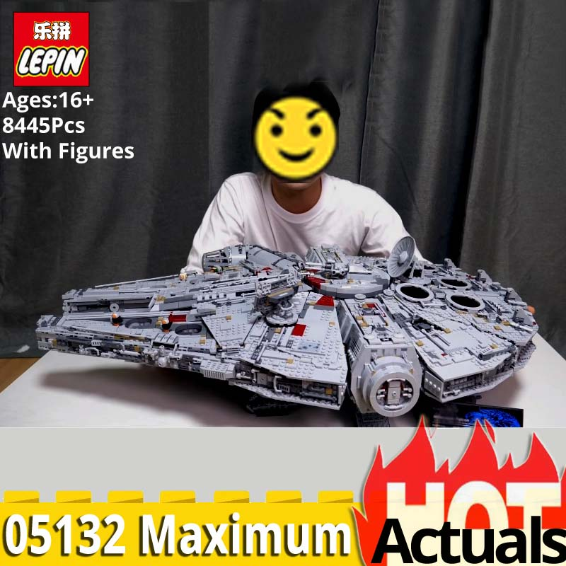 LEPIN 05132 Ultimate Collector Millennium Falcon Blocchi di Costruzione di Mattoni giocattoli per i bambini legoinlys StarWars 75192 regalo Di Natale