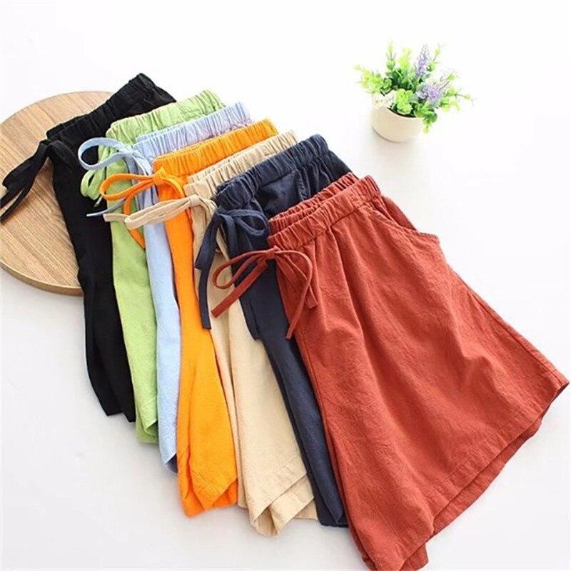 2019 Cozy Summer Cotton Linen Shorts Women Plus Size 3XL Elastic Waist Candy Colors Casual Shorts Female Loose Hot Shorts G340