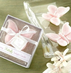 Elegant Pink Butterfly Candle with Box for Wedding X'mas Home Decor Gift Wedding Favors and Gifts