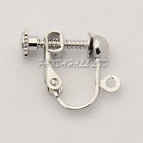 Brass Screw On Clip-on Earring Dangling Charms Pendants Setting Components for Non-Pierced Ears, Platinum, 14x17x4mm, Hole: 1mm