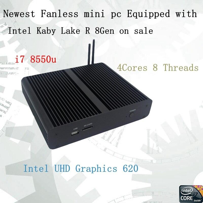 Новые Kaby Lake R 8Gen безвентиляторный мини-ПК i7 8550u Intel UHD620 win10 4 ядра 8 потоков DDR4 2133 NUC 2400 бесплатная доставка pc