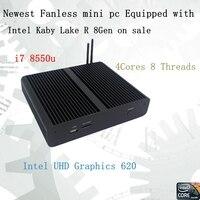 Новые Kaby Lake R 8Gen безвентиляторный мини ПК i7 8550u Intel UHD620 win10 4 ядра 8 потоков DDR4 2133 NUC 2400 Бесплатная доставка pc