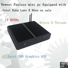 Новейший Kaby Lake R 8Gen безвентиляторный мини-ПК i7 8550u Intel UHD620 win10 четырехъядерный 8 ниток DDR4 2133 2400 NUC Бесплатная доставка ПК