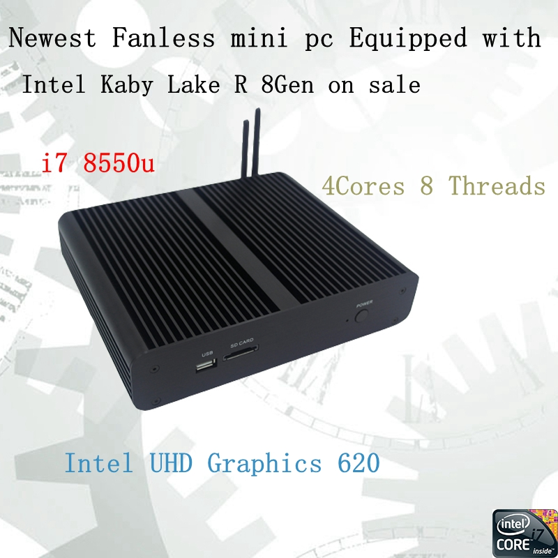 Più nuovo Kaby Lago R 8Gen Fanless mini pc i7 8550u Intel UHD620 win10 Quad Core 8 Thread DDR4 2133 2400 NUC Freeshipping pc