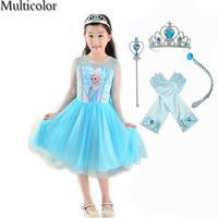 Multicolor Hot selling New Dresses For Girls Princess Anna Elsa Cosplay Costume Kid's Party Dress Kids Girls Clothes vestidos