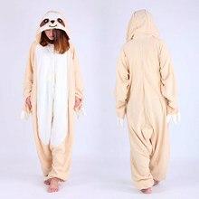 Adult Woman Man Sloth Onesies Pyjamas Bradypus Cosplay Costume Winter Polar  fleece Sleepsuit Adult Pajamas Halloween Party Dress 85a4db95441a