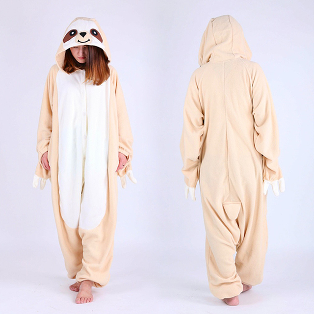 b9c038e42320 Adult Woman Man Sloth Onesies Pyjamas Bradypus Cosplay Costume Winter Polar  fleece Sleepsuit Adult Pajamas Halloween Party Dress