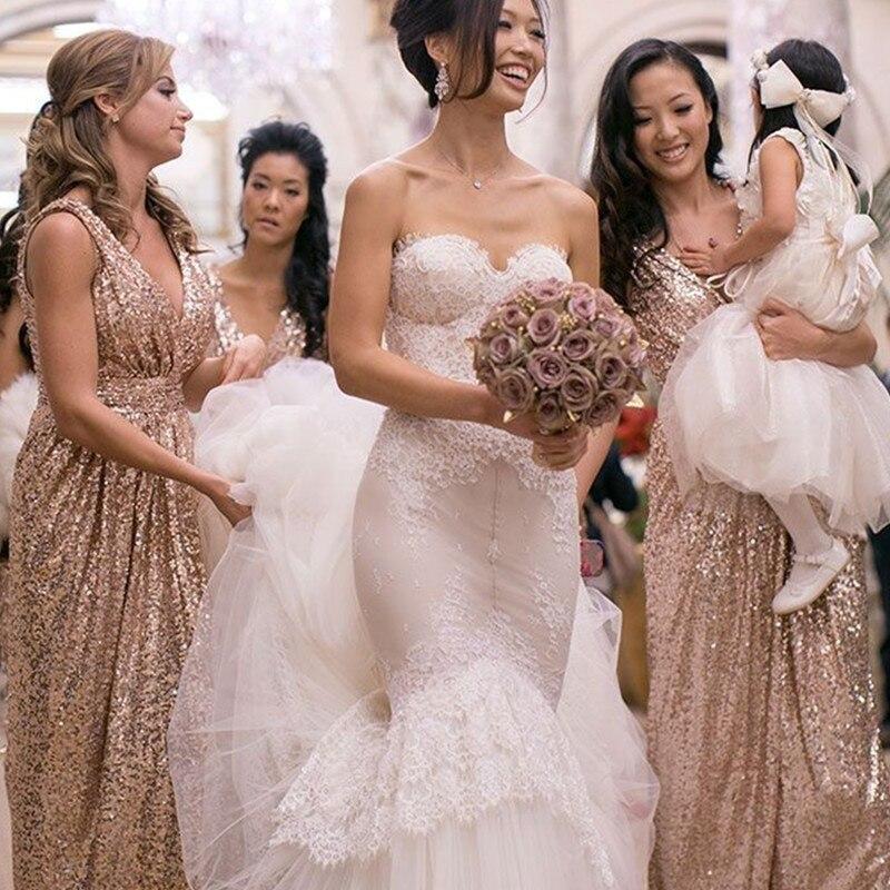 Sequin Bridesmaid Dresses Rose Gold Dress V Neck Backless