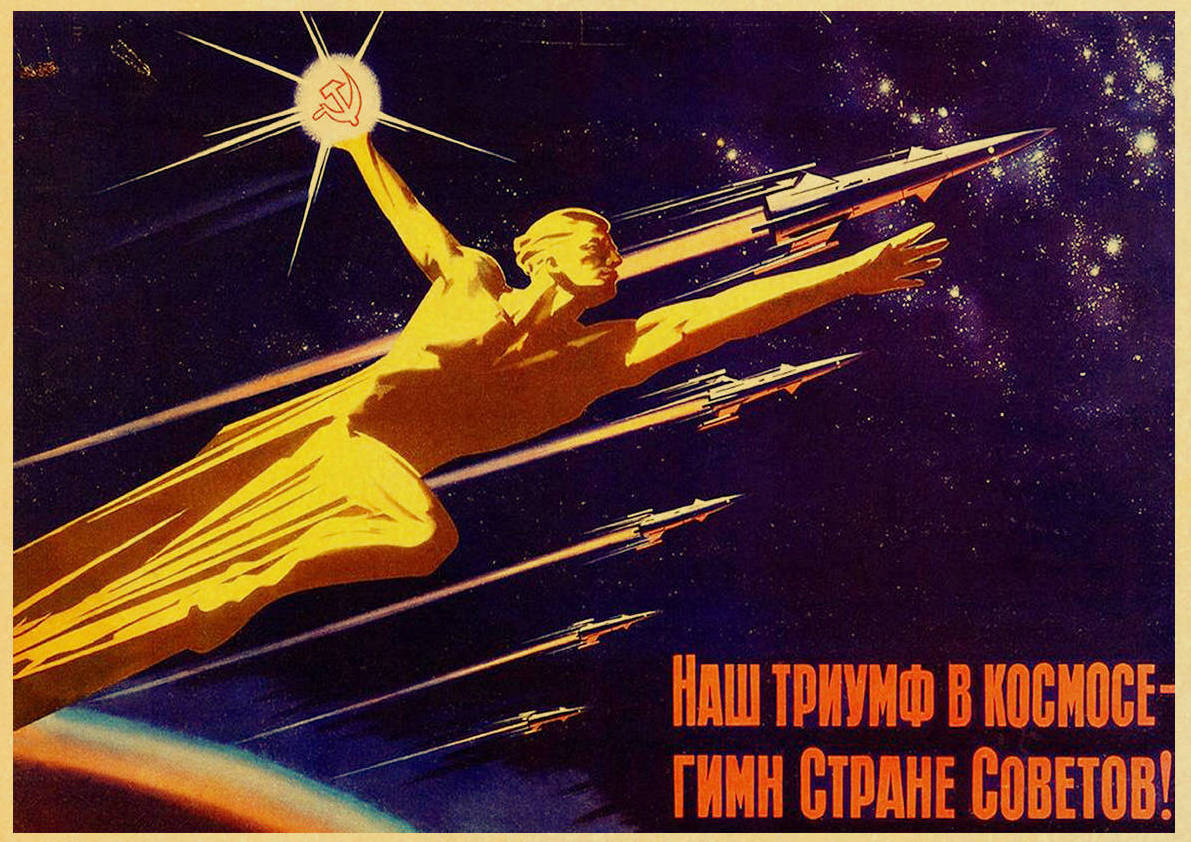 HTB1AgHhevWG3KVjSZPcq6zkbXXa4 Vintage Russian Propaganda Poster The Space Race Retro USSR CCCP Posters and Prints Kraft Paper Wall Art Home Room Decor