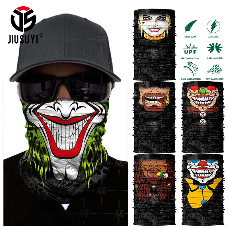 3D Seamless Clown Joker Skull Balaclava Neck Face Mask Neck Gaiter Headscarf Military Bandana Protection Headwear Bicycle Scarf