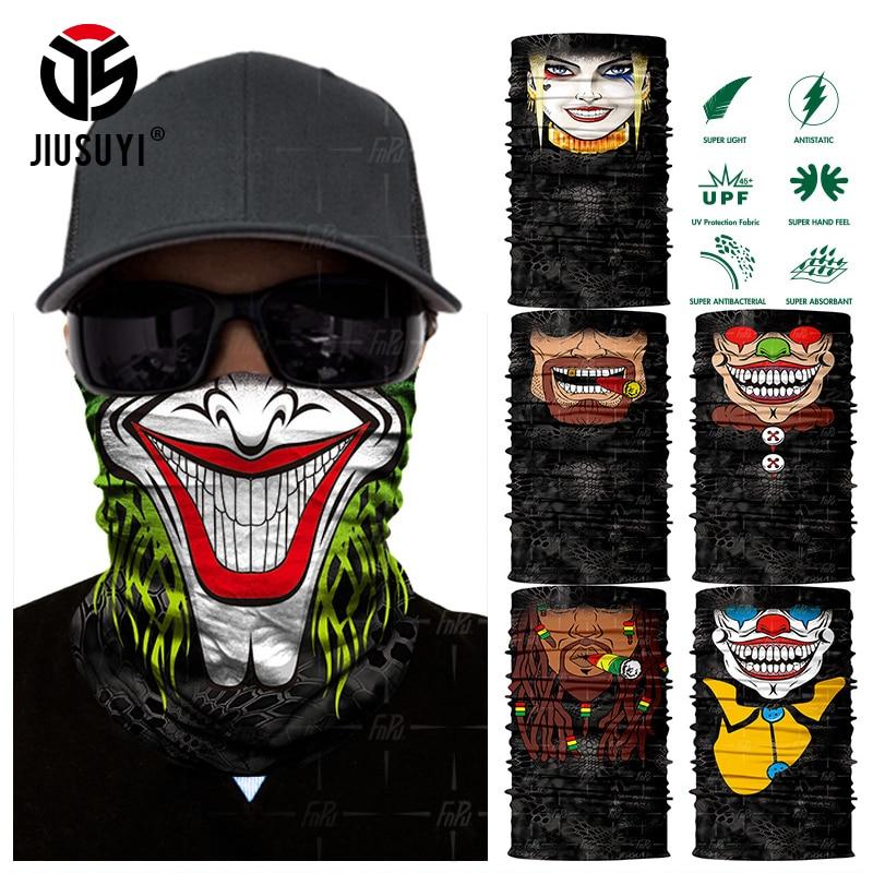 3D Seamless Clown Joker Skull Balaclava Neck Face Mask Neck Gaiter Headscarf Military Bandana Protection Headwear Bicycle Scarf