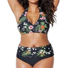 Grande formato costume da bagno delle donne di costumi da bagno del bikini 2018 Push Up a vita alta stampa floreale Costume Da Bagno Beach bikini plus size costumi da bagno 4XL
