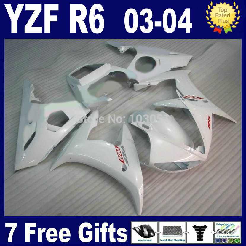 Customize Road race fairings For Yamaha YZF 2003 2004 2005 R6 R YZF R6 03 04 05 plastics  gloss white aftermarket fairing kits mfs motor motorcycle part front rear brake discs rotor for yamaha yzf r6 2003 2004 2005 yzfr6 03 04 05 gold