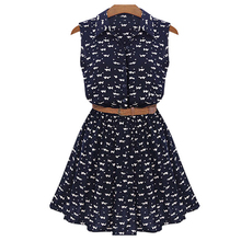 Women dress Chiffon Slim fit summer 2019 robe femme Printed sleeveless double collar with belt New arrive fashion