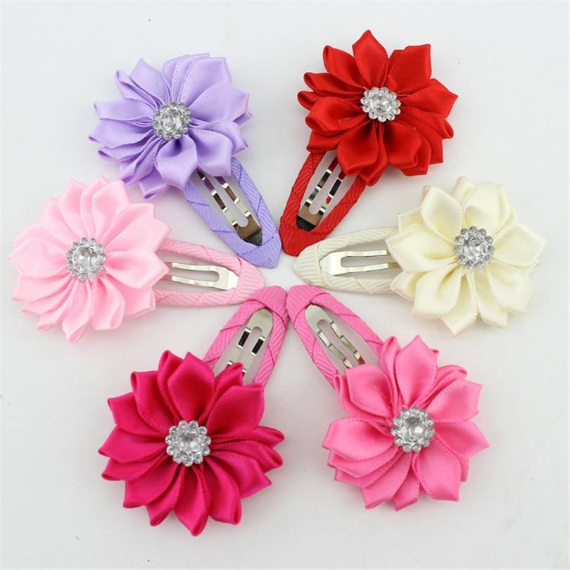 girl hairclip rhinestone mini satin flower hairs