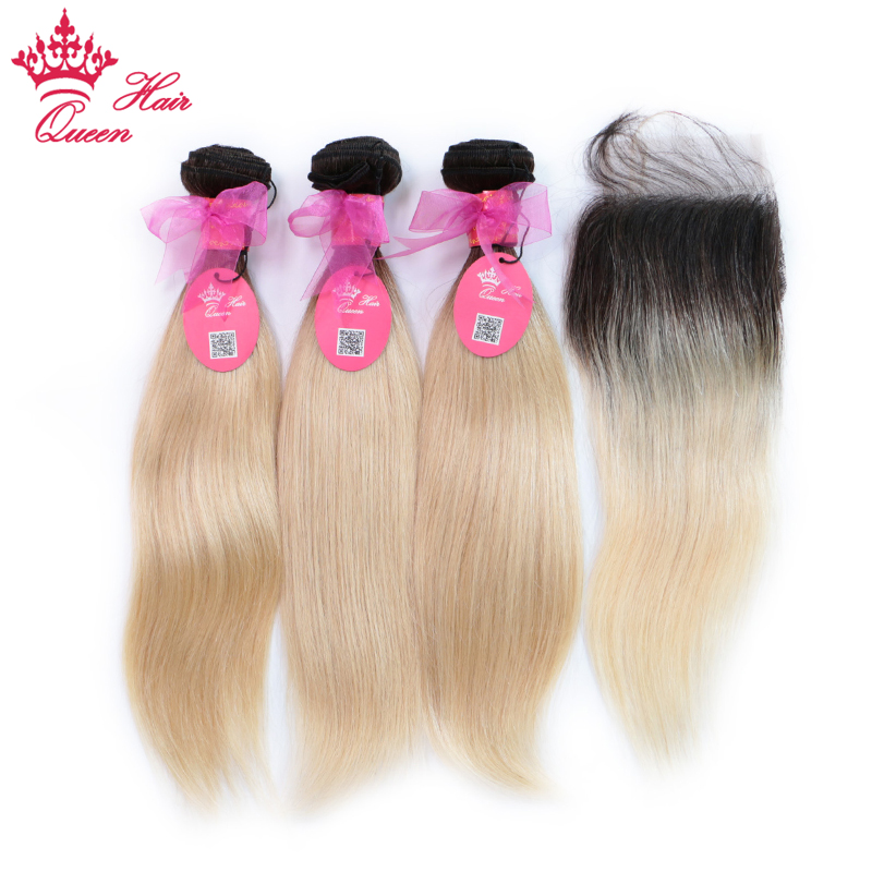 Queen Hair Products Brazilian Human Hair Ombre Blonde Hair 3 Bundles With 4*4 Lace Closure 1B/613 Color Straight Remy Hair Weft