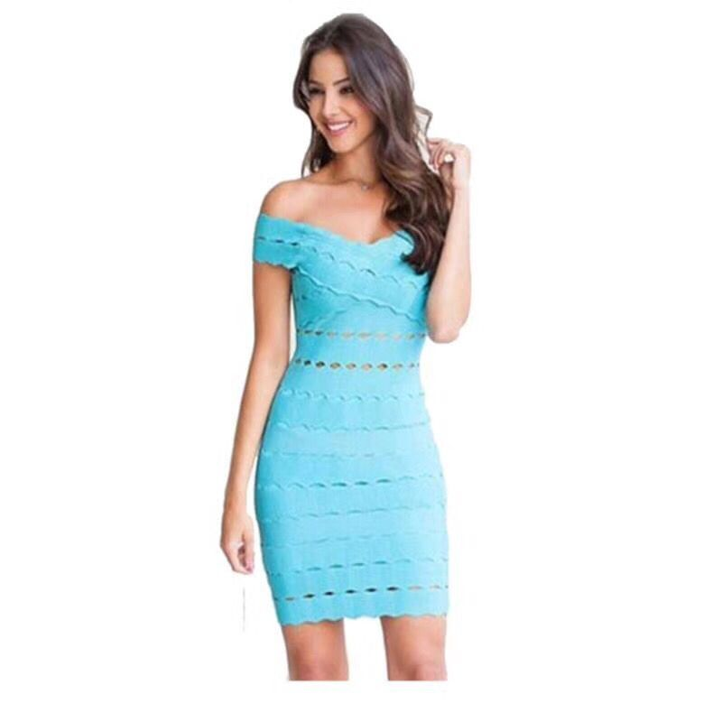 2017 New Light Blue Sexy Off the Shouler Elegant Party Dress HL Bandage Dress Top Quality