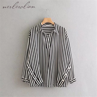 Nerlerolian Women Black And White Striped Shirts Long Sleeve Turn Down Collar Button Fly With Pearl
