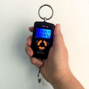 Портативные весы с крючком для рыбалки, 45 кг, 5 г, мини Цифровые Карманные весы, портативные весы с ЖК-дисплеем для багажа, кухни, весы с голубо...
