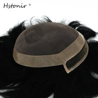 Mens Toupee Hair Replacement Systems Lace Frontal Hair Topper Invisible Knot H097