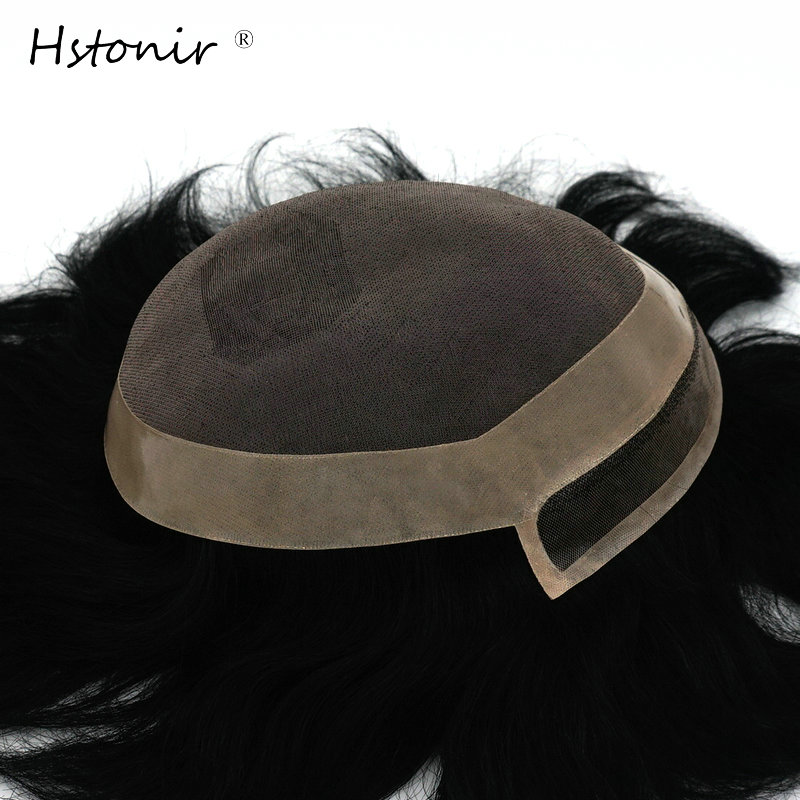 Hstonir Mens Toupee Hair Replacement Systems Lace Frontal Remy Hair Topper Invisible Knot H097